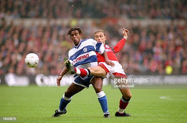 Lars Bohinen of Nottingham Forest takes on Trevor Sinclair of Queens Park Rangers during an FA Carling Premiership match in England Mandatory Credit...