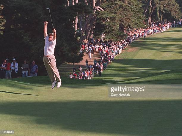 MARK MCCUMBER CELEBRATES HIS SUDDEN-DEATH VICTORY OVER FUZZY ZOELLER WHEN HE SUNK HIS BIRDIE PUTT ON THE FIRST EXTRA HOLE OF THE TOUR CHAMPIONSHIP AT...