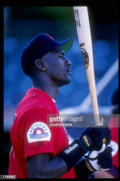 Michael Jordan of the Scottsdale Scorpions waits for his turn at bat during an Arizona Fall League game.