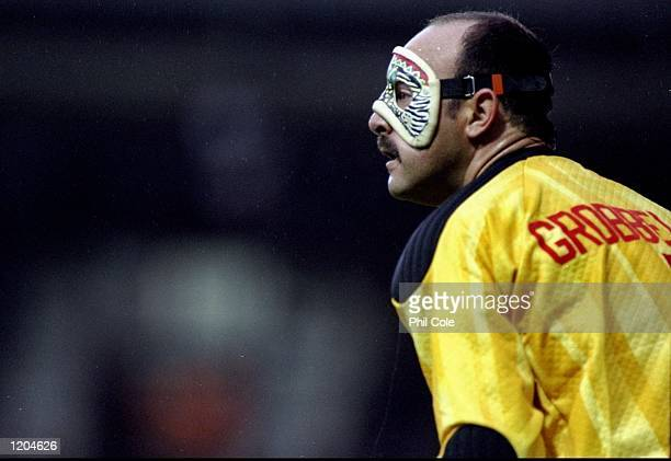 Portrait of Southampton Goalkeeper Bruce Grobbelaar wearing a face guard during an FA Carling Premiership match against Leeds United at The Dell in...