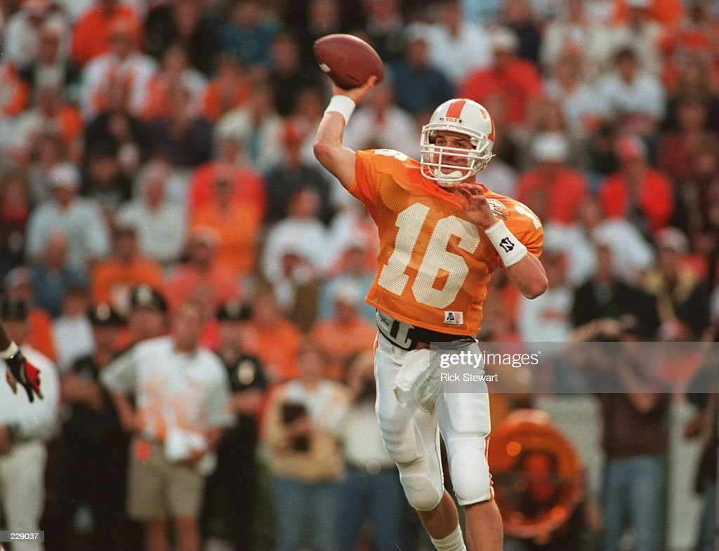 Quarterback Peyton Manning of the University of Tennessee sets to throw a pass during the Volunteers 17-13 loss to the University of Alabama. Mandatory Credit: Rick Stewart/ALLSPORT