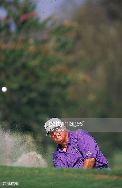 Billy Casper chips out of the sand trap during the Ralphs Senior Classic at the Wilshire Country Club in Los Angeles California Mandatory Credit JD...