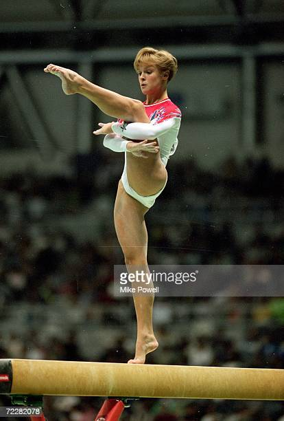 Donielle Thompson of the USA moves on the balance beam during the World Gymnastics Championships in Sabae Japan Mandatory Credit Mike Powell /Allsport