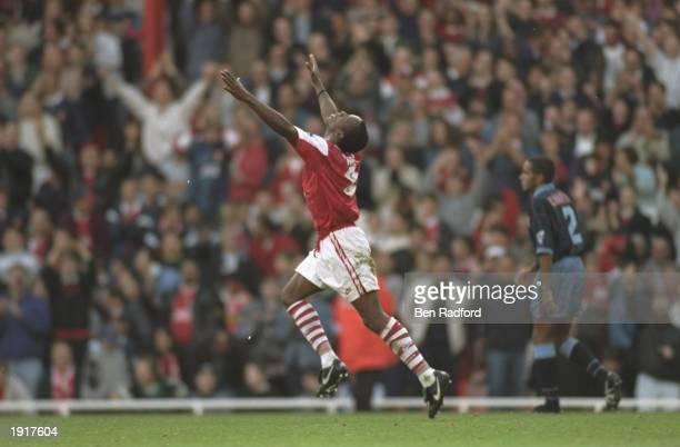 Ian Wright of Arsenal celebrates a goal during an FA Carling Premiership match against Aston Villa at Highbury Stadium in London Arsenal won the...