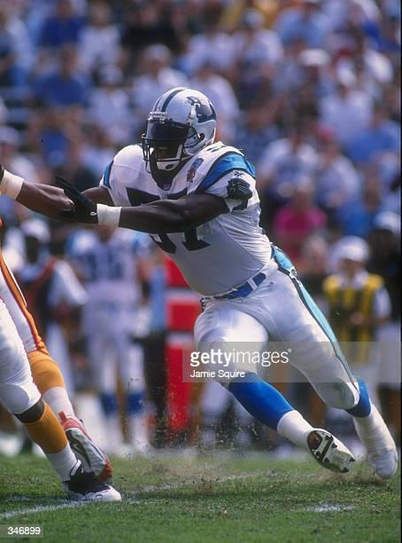 Linebacker Lamar Lathon of the Carolina Panthers in action during the Panthers 20-13 loss to the Tampa Bay Buccaneers at Memorial Stadium in South...
