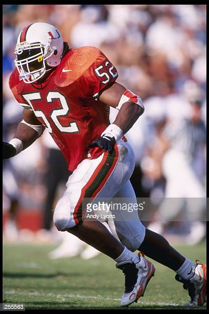 Linebacker Ray Lewis of the Miami Hurricanes runs after an opponent during a game against the Temple Owls at the Orange Bowl in Miami Florida Miami...