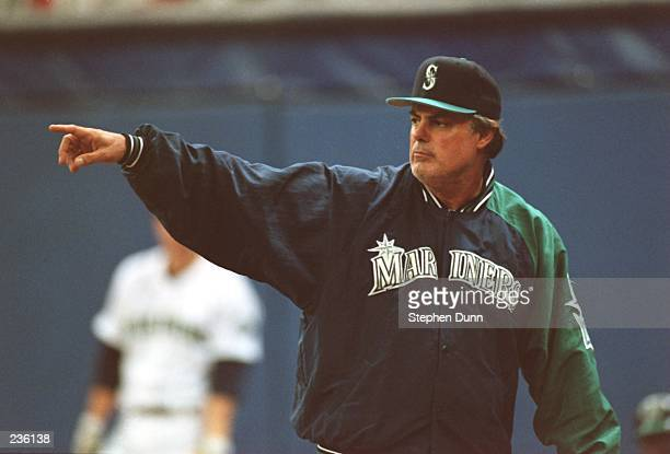 Manager Lou Pinella of the Seattle Mariners looks on during the Mariners 65 victory over the New York Yankees in the American League playoff series...