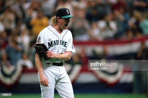 Norm Charlton of the Seattle Mariners yells from the field during the game against the New York Yankees at the Kingdome in Seattle Washington The...