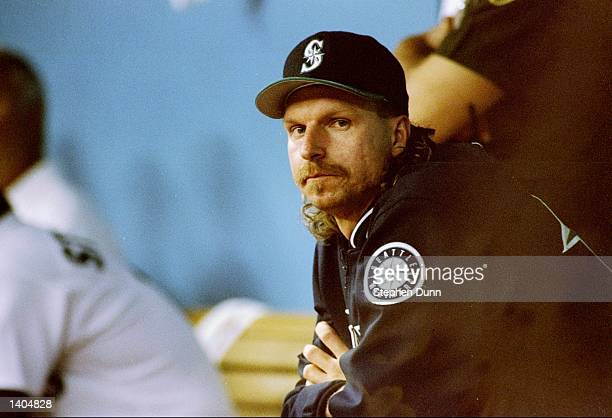 Pitcher Randy Johnson of the Seattle Mariners looks on during a game against the New York Yankees at the Kingdome in Seattle, Washington. The...