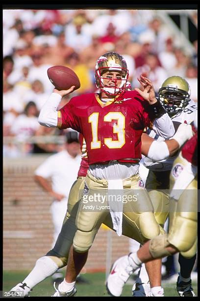 Quarterback Danny Kanell of the Florida State Seminoles passes the ball during a game against the Georgia Tech Yellow Jackets at Doak S Campbell...