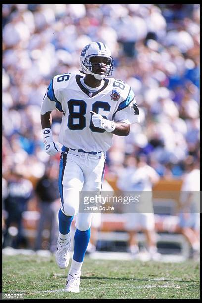 Wide receiver Willie Green of the Carolina Panthers runs down the field during a game against the Tampa Bay Buccaneers at Memorial Stadium in...