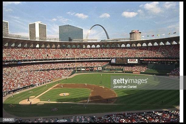 General view of Busch Stadium during the St. Louis Cardinals 4-3 loss to the San Diego Padres in St. Louis, Missouri. Mandatory Credit: Jonathan...