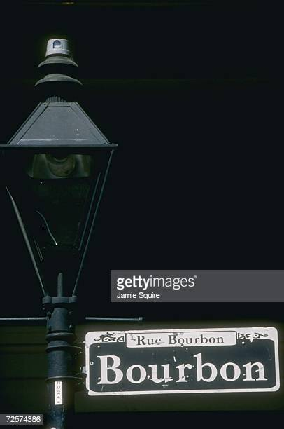 General view of the historical sights in New Orleans, the famous Bourbon Street sign and lamp post during a pre view photo shoot for Super Bowl XXXI...