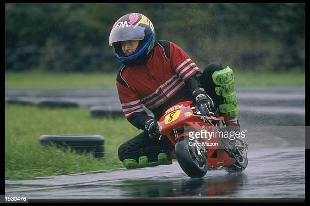 A rider shows good technique during the Mini Moto racing at Kinsham Raceway in Powys Mandatory Credit Clive Mason/Allsport