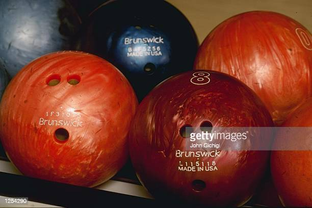 A view of bowling balls during ten pin bowling at Raynes Park in Surrey Mandatory Credit John Gichigi/Allsport