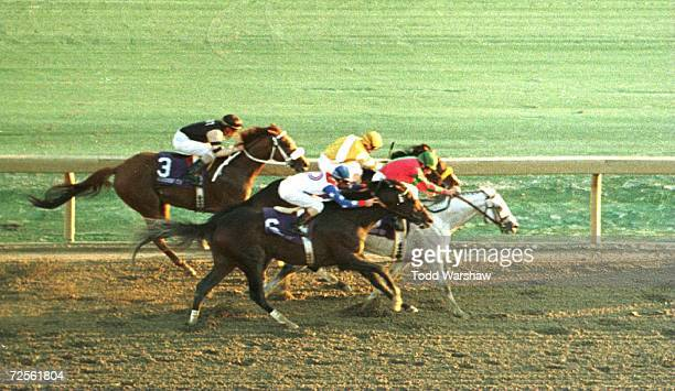 Alphabet Soup ridden by jockey Chris McCarron beats Louis Quatorze ridden by Pat Day to win the Breeders' Cup Classic race at Woodbine Racetrack in...