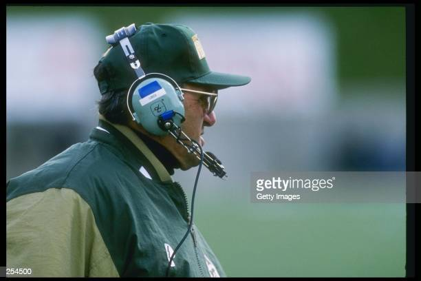 Coach Sonny Lubick of the Colorado State Rams watches his players during a game against the San Diego State Aztecs at Hughes Stadium in Fort Collins...