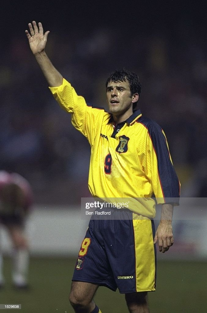 Darren Jackson of Scotland signals for the ball during the World cup qualifier between Latvia and Scotland in Latvia. Scotland went onto win the match by 0-2. Mandatory Credit: Ben Radford/Allsport