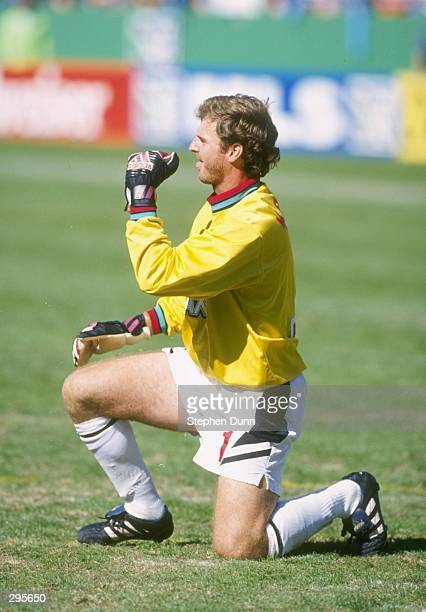 David Kramer of the Los Angeles Galaxy kneels on the field during the MLS Western Conference Finals against the Kansas City Wizards at Arrowhead...