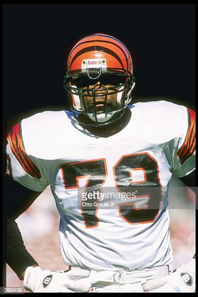 Defensive lineman Ramondo Stallings of the Cincinnati Bengals looks on during a game against the San Francisco 49ers at 3Com Park in San Francisco...