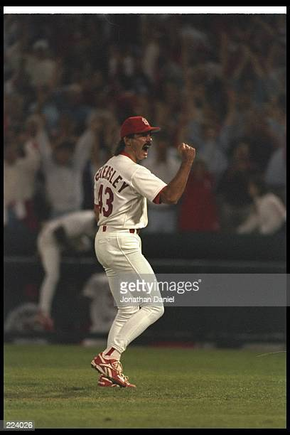 Dennis Eckersley of the St Louis Cardinals celebrates during a game against the Atlanta Braves at Busch Stadium in St Louis Missouri The Cardinals...