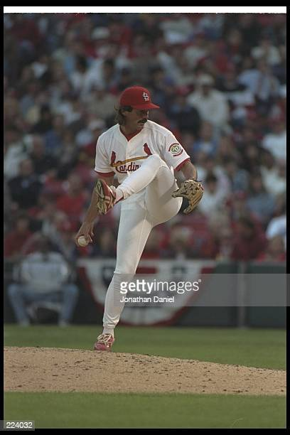 Dennis Eckersley of the St Louis Cardinals throws the ball during a game against the San Diego Padres at Busch Stadium in St Louis Missouri The...