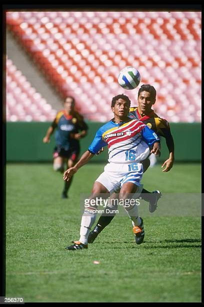 Diego Gutierrez of the Kansas City Wizards keeps the ball from Jorge Campos of the Los Angeles Galaxy during their 21 MLS Western Conference Finals...