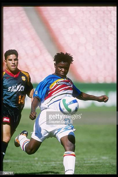 Digital Takawira of the Kansas City Wizards kicks the ball away from Chris Armas of the Los Angeles Galaxy during their 21 MLS Western Conference...