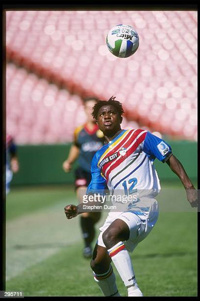 Digital Takawira of the Kansas City Wizards prepares to knee the ball during their 21 MLS Western Conference Finals shoot out loss against the Los...