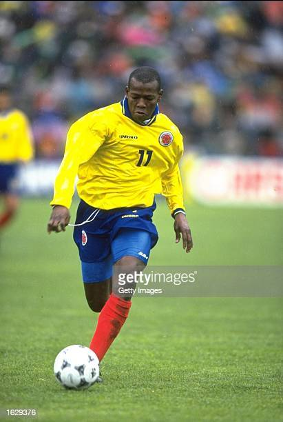 Faustina Asprilla of Colombia in action during the World Cup qualifier against Bolivia in La Paz Bolivia The match ended 22 Mandatory Credit Allsport...