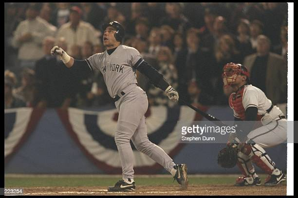 First baseman Jim Leyritz of the New York Yankees watches the ball fly during Game Four of the World Series against the Atlanta Braves at Fulton...