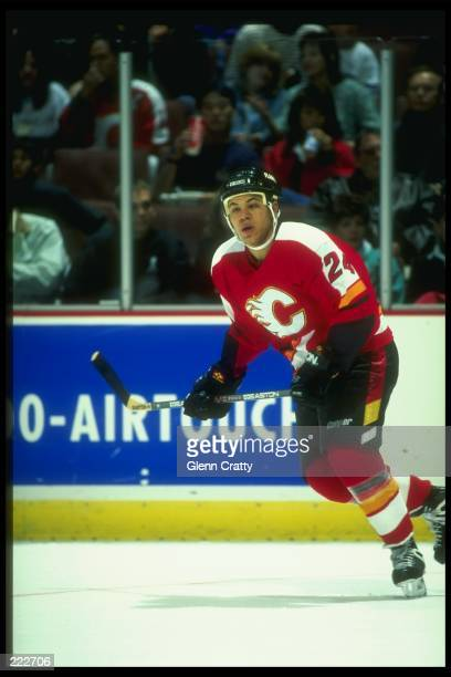 Forward Jarome Iginla of the Calgary Flames moves down the ice during a game against the Anaheim Mighty Ducks at Arrowhead Pond in Anaheim California...
