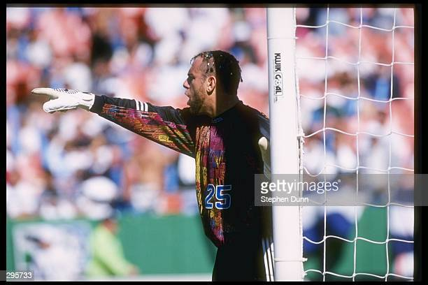 Garth Lagerwey of the Kansas City Wizards points from the goal during their 21 MLS Western Conference Finals shoot out loss to the Los Angeles Galaxy...