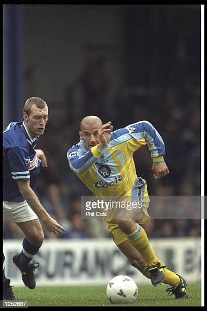 Gianluca Vialli of Chelsea cuts inside Spencer Prior of Leicester City during the FA Carling Premier league match between Leicester City and Chelsea...