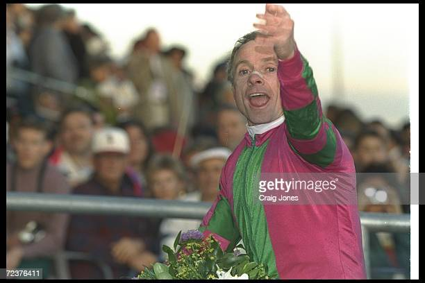 Jockey Chris McCarron celebrates after riding Alphabet Soup to victory during the Breeder''s Cup held at Woodbine Racetrack in Toronto Ontario...