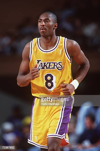 Kobe Bryant of the Los Angeles Lakers runs up court during a 9080 win over the Dallas Mavericks at Selland Arena in Fresno California Mandatory...