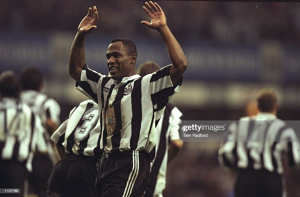 Les Ferdinand of Newcastle United raises his arms aloft during an FA Carling Premiership match against Manchester United at St James'' Park in Newcastle, England. Newcastle won the match 5-0. \ Mandatory Credit: Ben Radford/Allsport