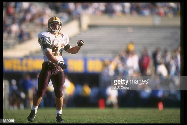 Linebacker Pat Tillman of the Arizona State Sun Devils celebrates during a game against the UCLA Bruins at the Rose Bowl in Pasadena California...