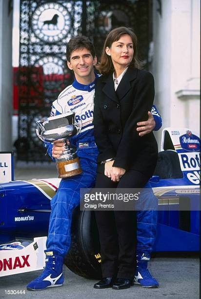 London welcomes home the new F1 World Champion Damon Hill here seen with wife Georgie at Marble Arch London Credit Craig Prentis/Allsport Mandatory...