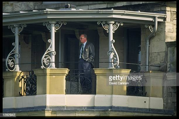 Michael Bonallack watches from the clubhouse during the Alfred Dunhill Cup at St Andrews Golf course in Scotland Mandatory Credit David...