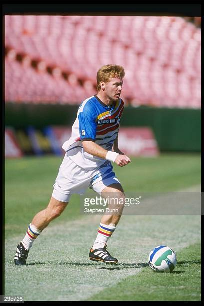 Mo Johnston of the Kansas City Wizards dribbles the ball during the MLS Western Conference Finals against the Los Angeles Galaxy at Arrowhead Stadium...