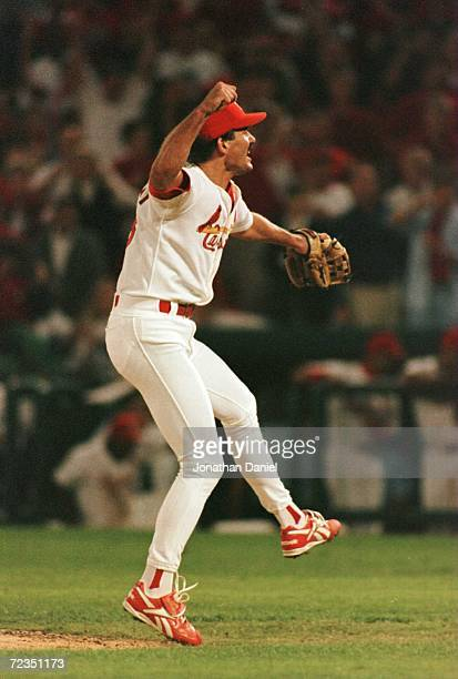 Pitcher Dennis Eckersley of the St Louis Cardinals celebrates after defeating the Atlanta Braves in game 4 of the National League Championship Series...
