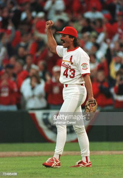 Pitcher Dennis Eckersley of the St Louis Cardinals celebrates the final out against the San Diego Padres in game 2 of the National League Divisional...