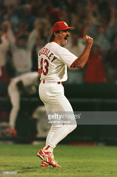 Pitcher Dennis Eckersley of the St Louis Cardinals celebrates defeating the Atlanta Braves in game 4 of the National League Championship Series at...