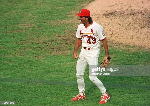 Pitcher Dennis Eckersley of the St Louis Cardinals celebrates throwing out batter Tony Gwynn of the San Diego Padres to win game 1 of the National...