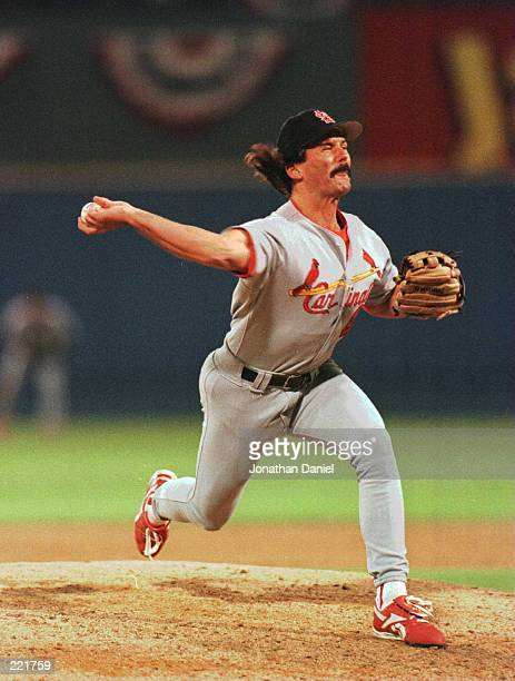 Pitcher Dennis Eckersley of the St Louis Cardinals throws a pitch during the Cardinals 83 win over the Atlanta Braves in game 2 of the National...