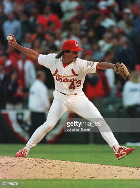 Pitcher Dennis Eckersley of the St Louis Cardinals throws a pitch against the San Diego Padres in game 2 of the National League Divisional Playoffs...