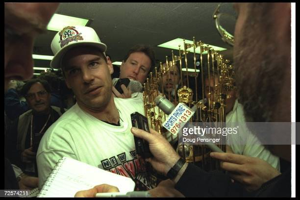 Pitcher John Wetteland of the New York Yankees and MVP of the World Series celebrates after Game Six of the World Series against the Atlanta Braves...