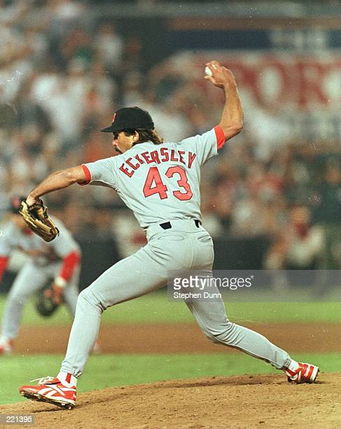 Relief pitcher Dennis Eckersley of the St Louis Cardinals in action during the ninth inning of the Cardinals 75 victory over the San Diego Padres in...