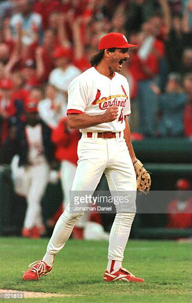 Relief pitcher Dennis Eckersley of the St Louis Cardinals celebrates the final out in the Cardinals 32 victory over the Atlanta Braves in game three...